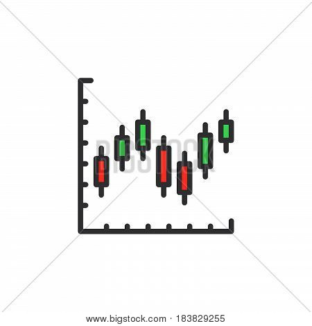 Candlestick chart line icon filled outline vector sign linear colorful pictogram isolated on white. Symbol logo illustration. Editable stroke. Pixel perfect