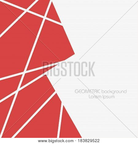 Abstract geometric background with red polygons and triangles. Template for resentations info graphics. Vector illustration