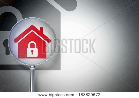 Business concept: magnifying optical glass with Home icon on digital background, empty copyspace for card, text, advertising, 3D rendering