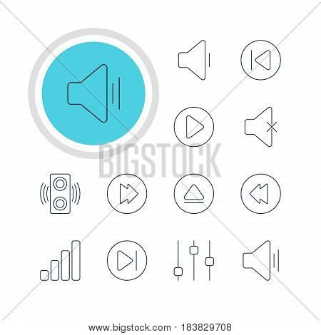 Vector Illustration Of 12 Melody Icons. Editable Pack Of Start, Stabilizer, Advanced And Other Elements.