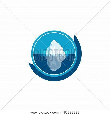 Iceberg above and under water. Conceptual logo badge design with abstract iceberg. Vector illustration