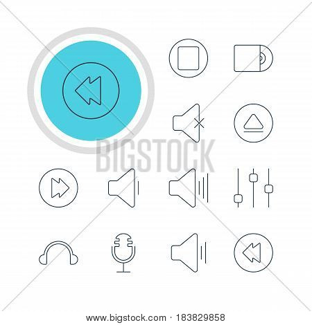 Vector Illustration Of 12 Melody Icons. Editable Pack Of Rewind, Pause, Advanced And Other Elements.