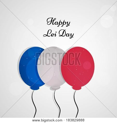 Illustration of balloons with Lei Day text