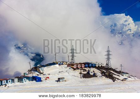 2014 07 Mount Elbrus, Russia: Panoramic view of the station GaraBashi and the mountains