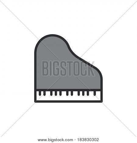 Grand piano line icon filled outline vector sign linear pictogram isolated on white. Symbol logo illustration. Editable stroke. Pixel perfect