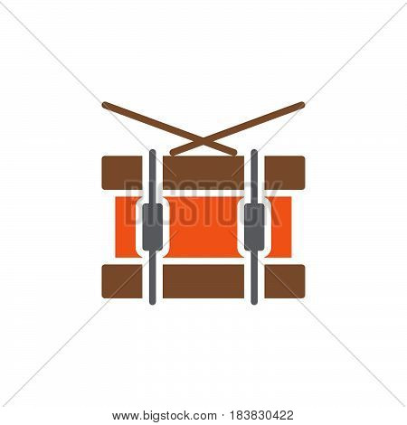 Snare drum icon vector filled flat sign solid colorful pictogram isolated on white. Symbol logo illustration. Pixel perfect