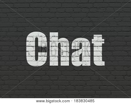 Web design concept: Painted white text Chat on Black Brick wall background