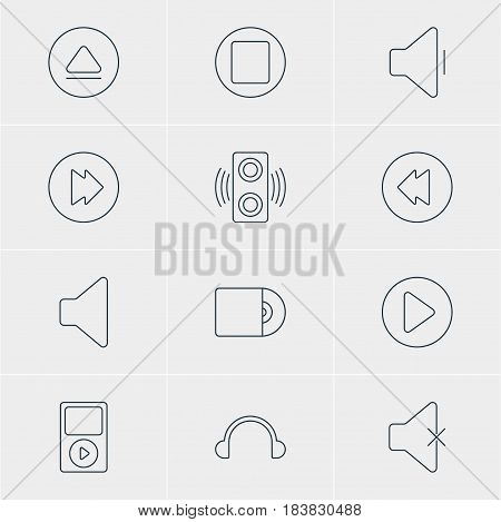 Vector Illustration Of 12 Melody Icons. Editable Pack Of Decrease Sound, Pause, Rewind And Other Elements.