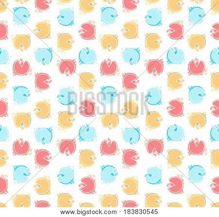 Retro seamless pattern with multi color circles in vector on isolated background. Colorful hipster vector illustration with bright colors circles. Repeated watercolor pattern background