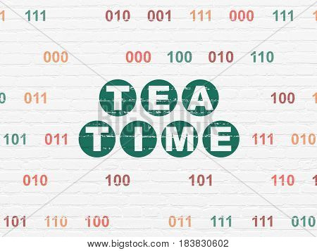 Timeline concept: Painted green text Tea Time on White Brick wall background with Binary Code