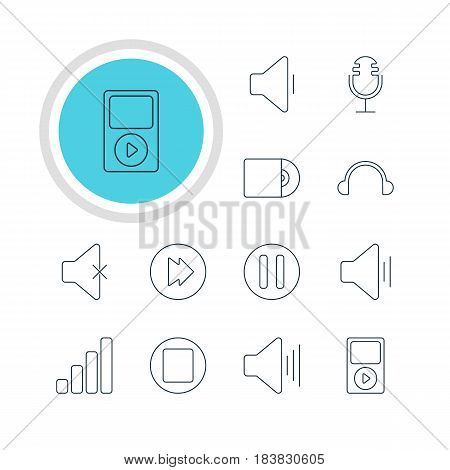 Vector Illustration Of 12 Melody Icons. Editable Pack Of Advanced, Decrease Sound, Compact Disk And Other Elements.