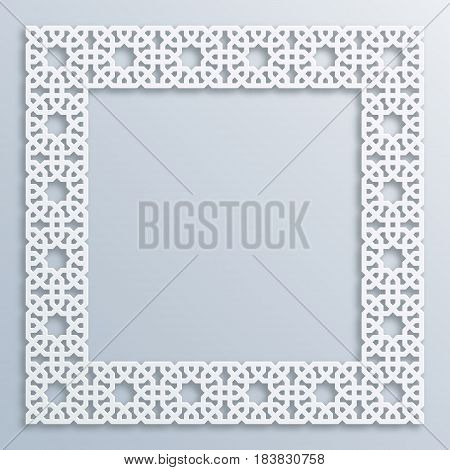 3D round white frame vignette. Islamic geometric border bas-relief. Vector muslim persian motif. Elegant oriental ornament traditional arabic art. Mosque decoration. Element for greeting cards