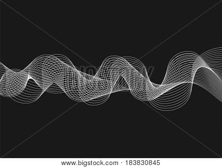 Abstract vector illustration with waves on dark background. Futuristic background with lines in waveform
