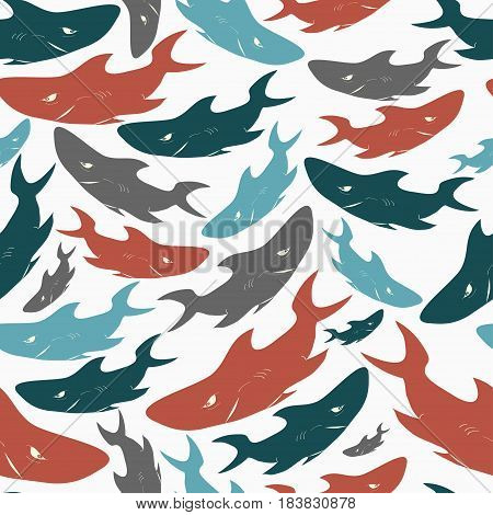 Shark seamless pattern. Stamp print on white background. Vector illustration