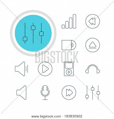 Vector Illustration Of 12 Music Icons. Editable Pack Of Stabilizer, Start, Earphone And Other Elements.
