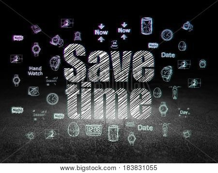 Time concept: Glowing text Save Time,  Hand Drawing Time Icons in grunge dark room with Dirty Floor, black background