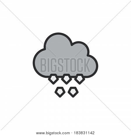 Cloud hail line icon filled outline vector sign linear pictogram isolated on white. Symbol logo illustration. Editable stroke. Pixel perfect