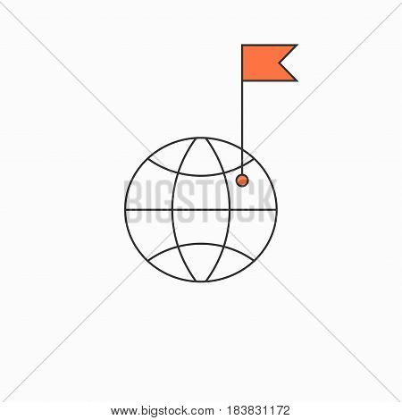 Check point creative symbol concept. Flat thin line sign for web design. Navigation mark with flag and earth. Vector illustration