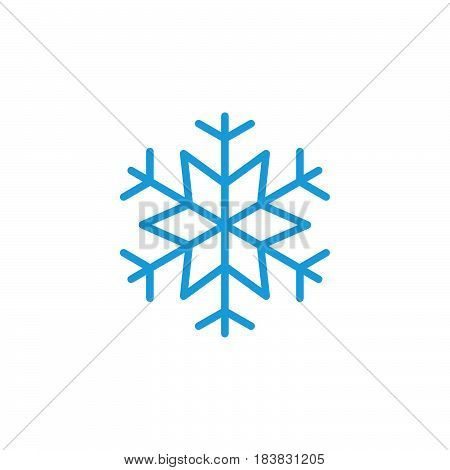 Snowflake freeze line icon outline vector sign linear colorful pictogram isolated on white. Snow symbol logo illustration. Editable stroke. Pixel perfect