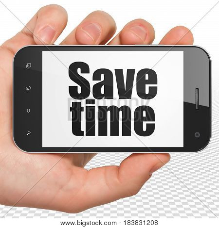 Time concept: Hand Holding Smartphone with black text Save Time on display, 3D rendering