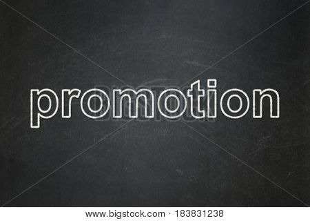 Marketing concept: text Promotion on Black chalkboard background