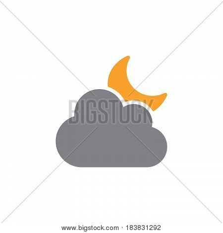 Cloud and moon icon vector filled flat sign solid colorful pictogram isolated on white. Partly cloudy weather symbol logo illustration. Pixel perfect