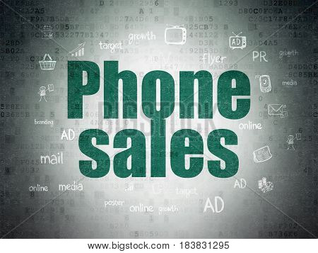 Advertising concept: Painted green text Phone Sales on Digital Data Paper background with  Hand Drawn Marketing Icons