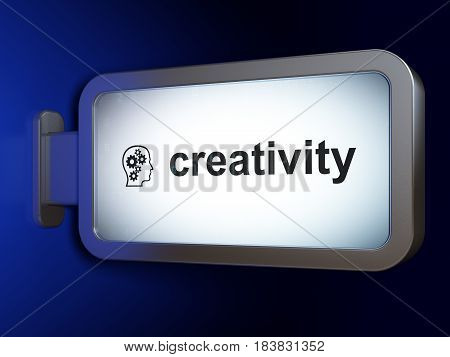 Advertising concept: Creativity and Head With Gears on advertising billboard background, 3D rendering
