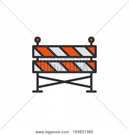 Construction barrier line icon filled outline vector sign linear colorful pictogram isolated on white. Symbol logo illustration. Editable stroke. Pixel perfect