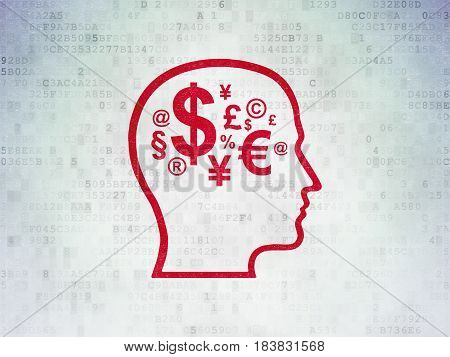 Advertising concept: Painted red Head With Finance Symbol icon on Digital Data Paper background