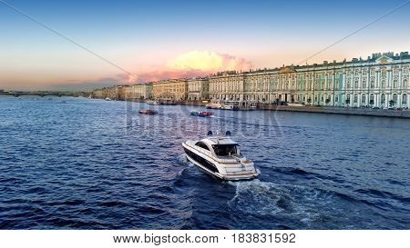 Saint-Petersburg, Russia, View from the palace bridge. View of the Neva River. St Petersburg