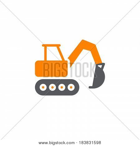 Excavator icon vector filled flat sign solid colorful pictogram isolated on white. Heavy construction equipment symbol logo illustration. Pixel perfect