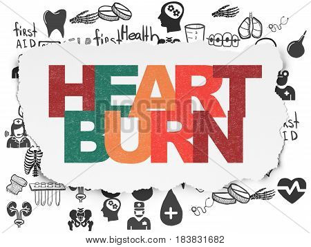 Health concept: Painted multicolor text Heartburn on Torn Paper background with  Hand Drawn Medicine Icons