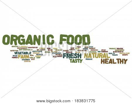 Concept or conceptual organic food healthy bio vegetables abstract word cloud isolated on background