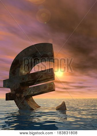 Conceptual 3D illustration currency euro sign or symbol sinking in water, sea or ocean sunset background concept for European crisis
