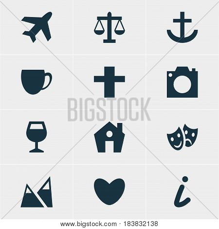 Vector Illustration Of 12 Travel Icons. Editable Pack Of Heart, Landscape, Coffee Shop Elements.