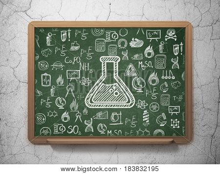 Science concept: Chalk White Flask icon on School board background with  Hand Drawn Science Icons, 3D Rendering