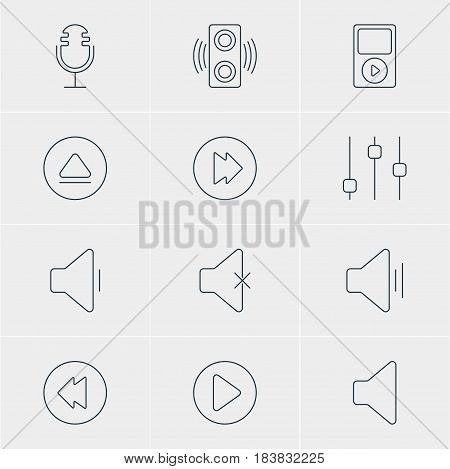 Vector Illustration Of 12 Music Icons. Editable Pack Of Stabilizer, Rewind, Advanced And Other Elements.