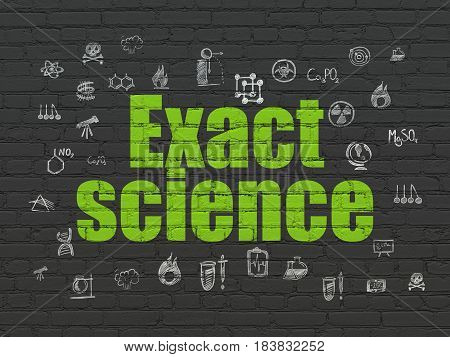 Science concept: Painted green text Exact Science on Black Brick wall background with  Hand Drawn Science Icons
