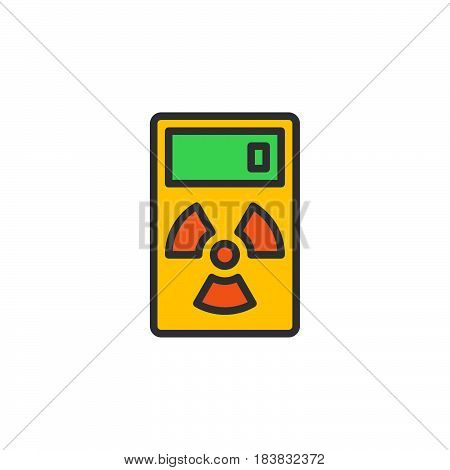 Geiger counter line icon filled outline vector sign linear colorful pictogram isolated on white. Radiation measurement device symbol logo illustration. Editable stroke. Pixel perfect