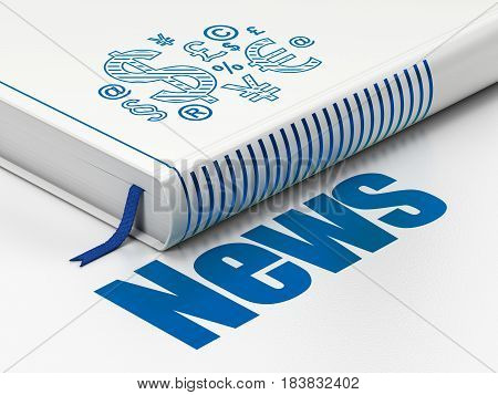 News concept: closed book with Blue Finance Symbol icon and text News on floor, white background, 3D rendering