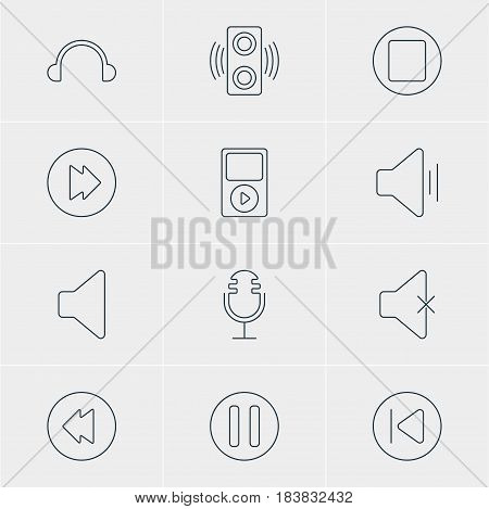 Vector Illustration Of 12 Melody Icons. Editable Pack Of Earphone, Pause, Mike And Other Elements.