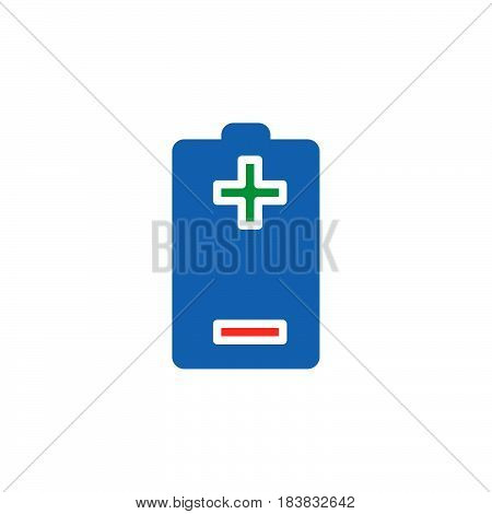 Battery plus minus icon vector filled flat sign solid colorful pictogram isolated on white. Symbol logo illustration. Pixel perfect