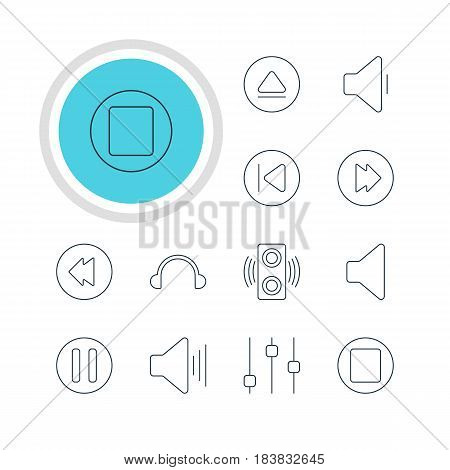 Vector Illustration Of 12 Music Icons. Editable Pack Of Earphone, Preceding, Speaker And Other Elements.