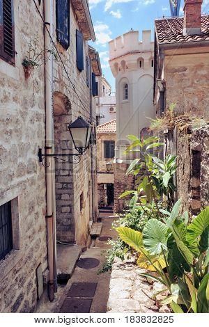 narrow street in Herceg Novi Old Town, Montenegro