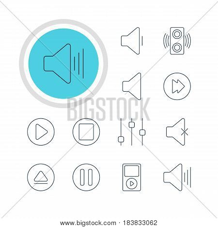 Vector Illustration Of 12 Melody Icons. Editable Pack Of Pause, Amplifier, Rewind And Other Elements.