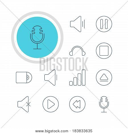 Vector Illustration Of 12 Melody Icons. Editable Pack Of Soundless, Compact Disk, Audio And Other Elements.