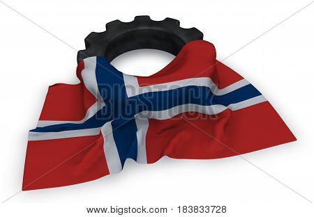 gear wheel and flag of norway - 3d rendering