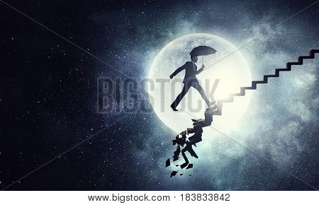 Businessman in night sky