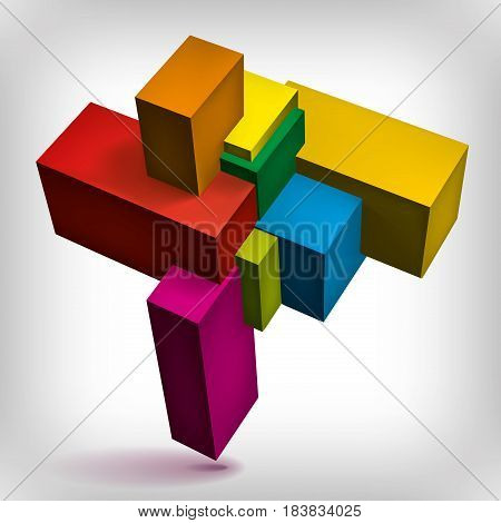 Volume geometric shape, 3d color cubes, abstraction group object, vector design form
